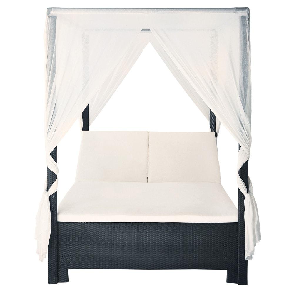 himmelbett für den garten 150 x 210 cm, kunstharzgeflecht, schwarz