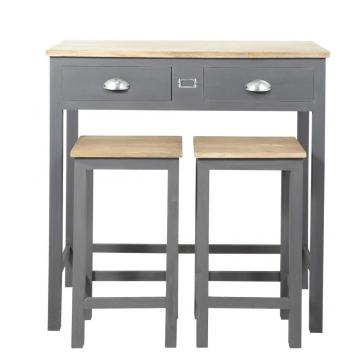 Hoher Esstisch + 2 Hocker aus Holz, B 90cm