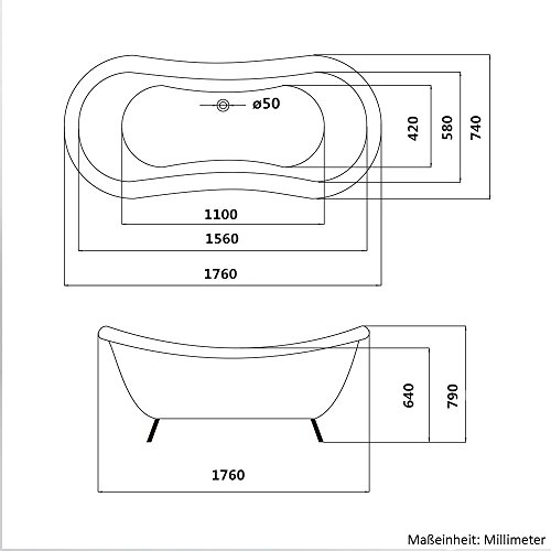 Home Deluxe freistehende Design Badewanne Fama - 7