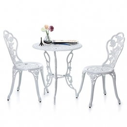 iKayaa 3tlg. Balkonmöbel Gartenmöbel Set mit Rose Muster 1xTisch + 2xStuhl
