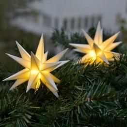 In Weiß - LED Lichterkette mit 9 Sternen f. außen