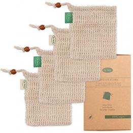Io Nova 4x Sisal Seifensäckchen | zweifarbige Baumwoll-Labels | natürliches Körper-Peeling - 1