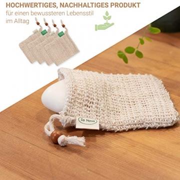 Io Nova 4x Sisal Seifensäckchen | zweifarbige Baumwoll-Labels | natürliches Körper-Peeling - 5