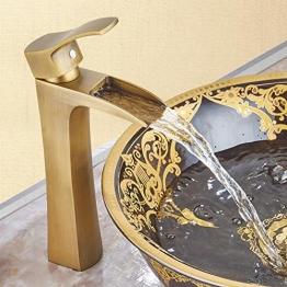 JRUIA Antik Messing Hohe Wasserfall Waschtischarmatur Retro Bad Wasserhahn Einhebelmischer Aufsatz-Waschbecken Armatur f.Badezimmer Hoher Auslauf aus Messing Gebürsteter (H29.8cm) - 1