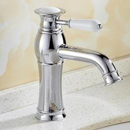 JRUIA Chrom Bad Wasserhahn Waschtischarmatur Einhebel Mischbatterie Waschbecken Armatur Badarmatur aus Messing mit Keramik Griffe - 1