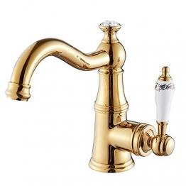 JRUIA Nostalgie Gold Bad Wasserhahn-Waschtischarmatur 360°Schwenkbare Waschbecken Armatur Einhebelmischer Mischbatterie Badarmatur f.Badezimmer aus Messing - 1