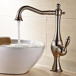 JRUIA Nostalgie Retro Hohe Waschtischarmatur 360° Drehbar Bad Wasserhahn Einhebelmischer Aufsatzwaschbecken Armatur Badarmatur f.Badzimmer Hoher Auslauf aus Messing (matt Gebürsteter Nickel) - 1