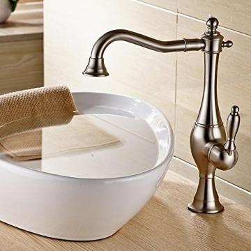 JRUIA Nostalgie Retro Hohe Waschtischarmatur 360° Drehbar Bad Wasserhahn Einhebelmischer Aufsatzwaschbecken Armatur Badarmatur f.Badzimmer Hoher Auslauf aus Messing (matt Gebürsteter Nickel) - 4