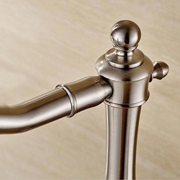 JRUIA Nostalgie Retro Hohe Waschtischarmatur 360° Drehbar Bad Wasserhahn Einhebelmischer Aufsatzwaschbecken Armatur Badarmatur f.Badzimmer Hoher Auslauf aus Messing (matt Gebürsteter Nickel) - 6