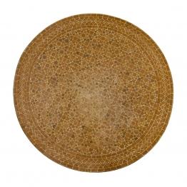 Kacheltisch rund, braun/beige, H 75 cm, Ø 90 cm