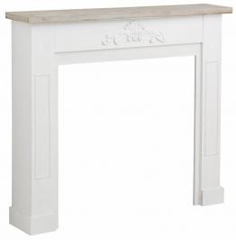 Kaminumrandung aus Holz, weiß,