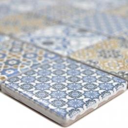 Keramik Mosaikfliesen Daymion Retrooptik Blau Braun | Wandverkleidung Badfliesen Bad Mosaikstein Natursteinfliesen Fußbodenfliesen Dekorative Fliesen Dekor - 1