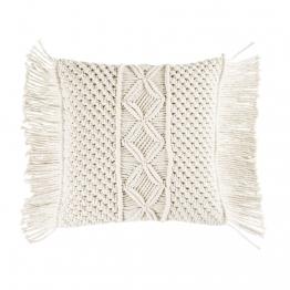 Kissen aus Baumwolle mit Makramee elfenbeinfarben 45x45