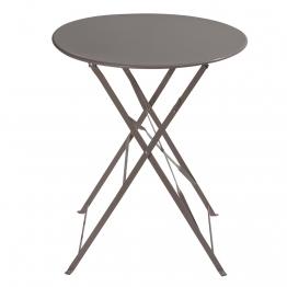 Klappgartentisch aus Metall, D 58cm, taupe Confetti