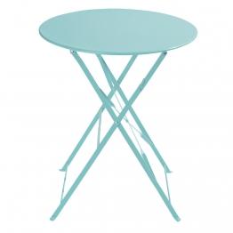 Klappgartentisch aus Metall, D 58cm, türkis Confetti Guinguette
