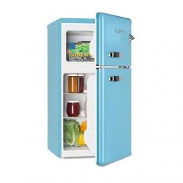 Klarstein Irene • Kühl- & Gefrierkombination • Retro Kühlschrank • 61 L Kühlfach • 24 L Gefrierfach • 40 dB leise • 2 Kühlebenen • 2 Türablagen • für Kleinfamilien und Singles • blau - 1