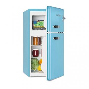 Klarstein Irene • Kühl- & Gefrierkombination • Retro Kühlschrank • 61 L  Kühlfach • 24 L Gefrierfach • 40 dB leise • 2 Kühlebenen • 2 ...