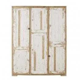 Kleiderschrank mit 6 Türen aus Recycling-Kiefernholz, weiß patiniert Kinfolk