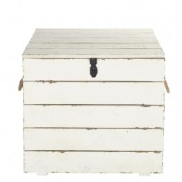 Koffer aus geschnitztem Tannenholz in Antikoptik, weiß