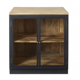Küchenunterschrank mit 2 Glastüren aus massivem Mangoholz, schiefergrau Cezanne