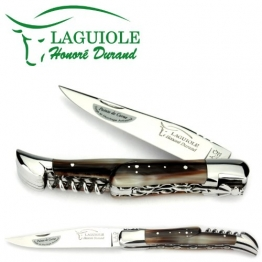 Laguiole Honoré Durand Taschenmesser Doppelplatine Griff Hornspitze 12 cm Messer glänzend Korkenzieher - 1