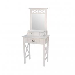 Landhaus Schminktisch mit Spiegel Weiß