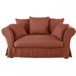 Leinen-Crinkle-Bezug für 2-Sitzer-Sofa, terrakotta Roma