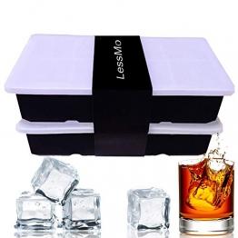 LessMo Eiswürfelform, 2er Pack XXL Silikon Eiswürfelbehälter mit Deckel, BPA-Frei Für 16 Große Eiswürfel (5cm) [Updated] (Schwarz) - 1