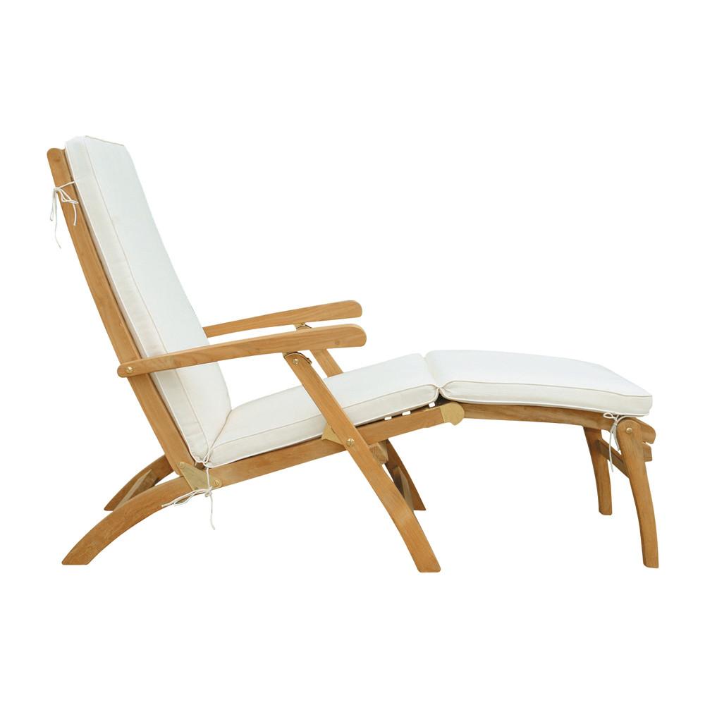 Liegestuhl aus massivem teakholz l 170 cm shop ambiente for Chaise longue blanc pvc