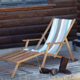 Liegestuhl Deckchair MAXX mit Fußteil Streifen Tarifa