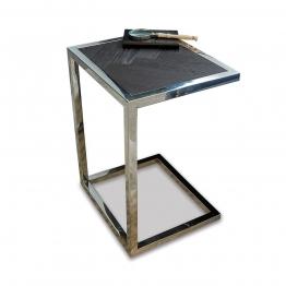 LOBERON Beistelltisch Amari, dunkelbraun/silber (35 x 40 x 55cm)