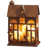 LOBERON Laterne Sweet Home, rostbraun (17 x 30 x 44.5cm)