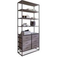 LOBERON Regal Dolla, grau/schwarz (100 x 40 x 230cm)