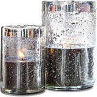 LOBERON Windlicht mit Kerze 2er Set Anvin, klar/silber