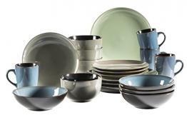 MÄSER 931238 Serie Scuro, Geschirr-Set bunt aus Keramik für 4 Personen, 20-teiliges Kombiservice, modern und mediterran, Grün/Grau/Blau, Steinzeug - 1