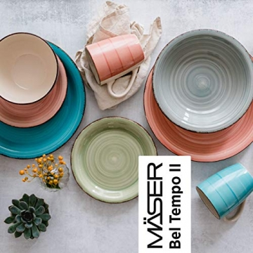 MÄSER 931499 Bel Tempo II 16-teiliges Vintage Geschirr-Set für 4 Personen, handbemaltes Keramik Kombiservice, bunt, Steingut - 4