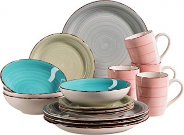 MÄSER 931499 Bel Tempo II 16-teiliges Vintage Geschirr-Set für 4 Personen, handbemaltes Keramik Kombiservice, bunt, Steingut - 1