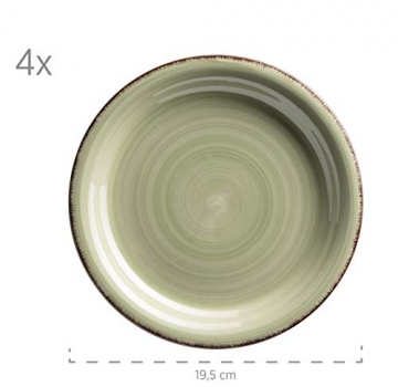 MÄSER 931499 Bel Tempo II 16-teiliges Vintage Geschirr-Set für 4 Personen, handbemaltes Keramik Kombiservice, bunt, Steingut - 5