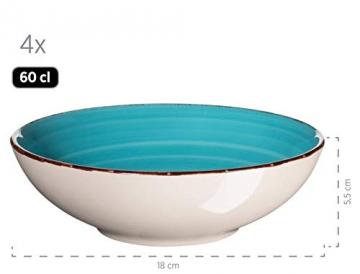 MÄSER 931499 Bel Tempo II 16-teiliges Vintage Geschirr-Set für 4 Personen, handbemaltes Keramik Kombiservice, bunt, Steingut - 7