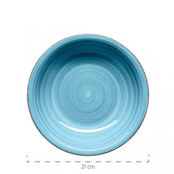 Mäser, Serie Bel Tempo, Teller-Set aus Steingut, 12-teilig für 6 Personen, Tafelservice Vintage, handbemalt, dunkelblau - 2