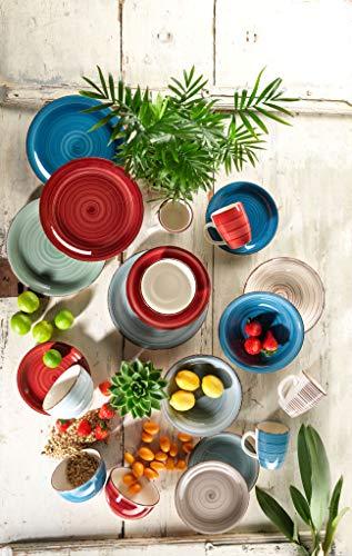 Mäser, Serie Bel Tempo, Teller-Set aus Steingut, 12-teilig für 6 Personen, Tafelservice Vintage, handbemalt, dunkelblau - 3