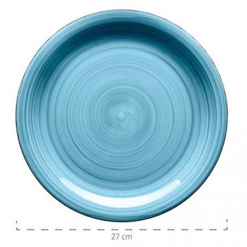 Mäser, Serie Bel Tempo, Teller-Set aus Steingut, 12-teilig für 6 Personen, Tafelservice Vintage, handbemalt, dunkelblau - 4