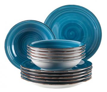 Mäser, Serie Bel Tempo, Teller-Set aus Steingut, 12-teilig für 6 Personen, Tafelservice Vintage, handbemalt, dunkelblau - 1