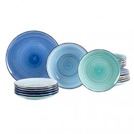 MamboCat 18tlg. Teller-Set Blue Baita | edles Porzellan-Geschirr | großer Speiseteller + tiefer Suppenteller + Kuchenteller | 6 Blau-Töne | backofentauglich - 1