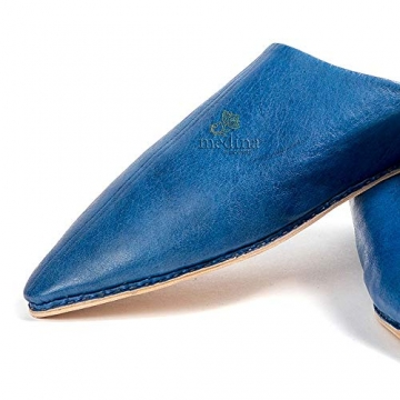 Mann und Frau Pantoffel traditionelle Blaue Jeans, Marrakesch Babouche Hausschuhe genäht Hand darauf hingewiesen - 45 - 2