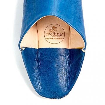 Mann und Frau Pantoffel traditionelle Blaue Jeans, Marrakesch Babouche Hausschuhe genäht Hand darauf hingewiesen - 45 - 3