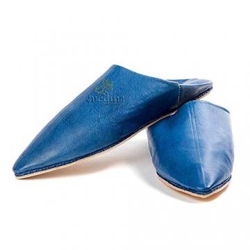 Mann und Frau Pantoffel traditionelle Blaue Jeans, Marrakesch Babouche Hausschuhe genäht Hand darauf hingewiesen - 45 - 1