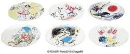 Marc Chagall: Kollektion Marc Chagall von Bernardaud - 6-teiliges Tellerset mit Künstlermotiven, Porzellan, Porzellan