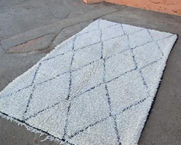 Marokkanische Beni ourain Berber Teppich Orient Teppich - 100% handgewebte natürlich Tribal Wolle Teppich - Diamant Formen - 2.60 x 1.65 m - 2