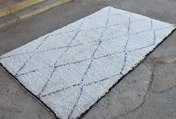 Marokkanische Beni ourain Berber Teppich Orient Teppich - 100% handgewebte natürlich Tribal Wolle Teppich - Diamant Formen - 2.60 x 1.65 m - 3